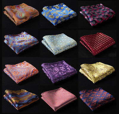 Floral Paisley Men Silk Satin Pocket Square Hanky Wedding Party Handkerchief #A3