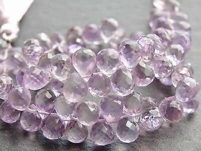 """QUALITY HAND FACETED PINK AMETHYST BRIOLETTES, approx 5x7mm, 8"""", 78 beads"""