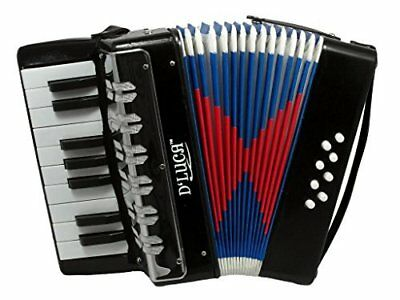 D'Luca Kids Piano Accordion 17 Keys 8 Bass Solid Black