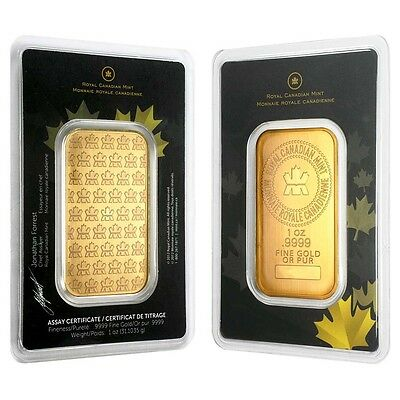 1 oz Royal Canadian Mint RCM Gold Bar .9999 Fine (In Assay)