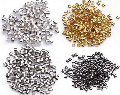 500/1000pcs Wholesale Silver/Gold/Black/Bronze/Copper Tube Crimp Beads 1.5mm 2mm