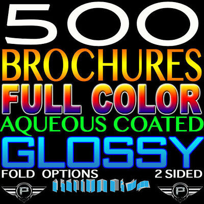 "500 Brochure 8.5"" X 11"" Full Color 2 Sided 100Lb Glossy Aqueous Coated Tri Fold"