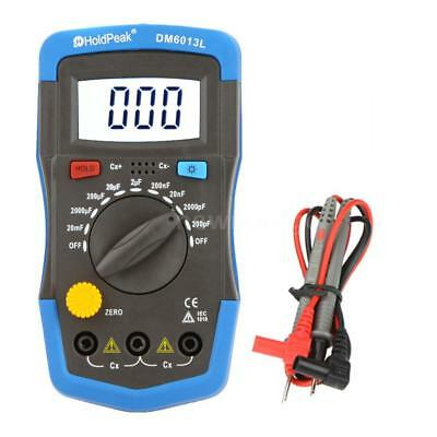 DM6013L LCD Handheld Digital Capacitor Capacitance Tester Meter & Test Lead Set