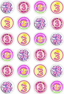 24 3rd Birthday Girl Cupcake Cake Toppers Edible Rice Wafer Paper Decorations