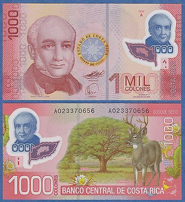 Costa Rica 1000 Colones P 274 2009 UNC Low Shipping! Combine FREE! Polymer