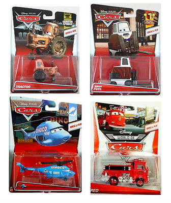 Disney Pixar Cars Oversize Deluxe Diecast New Boxed - Tractor, Helicopter, Red
