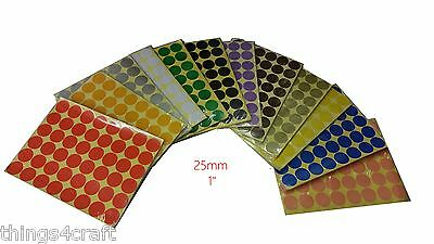 25mm 1 inch Coloured Dot Stickers Round Sticky Adhesive Spot Circles Paper Label