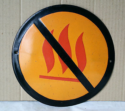 VINTAGE 1960`s ENAMEL PORCELAIN TIN SIGN PLATE - FORBIDDEN FIRE - 25 cm - # 4