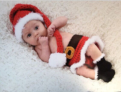 Newborn Baby Christmas Santa Knitted Crochet Costume Photo Photography Prop V325