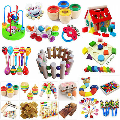 Best Baby Educational Egg Wooden Bell Drum Music Puzzle Kaleidoscope Maraca Toy