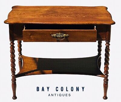 Antique Victorian Solid Tiger Oak Desk Table With Barley Twist Legs