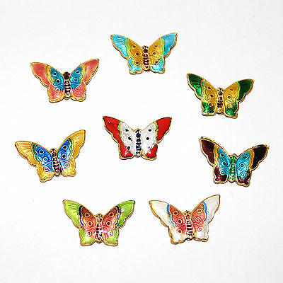 27mm x 17mm butterfly shape cloisonne style bead with choice of 8 colours