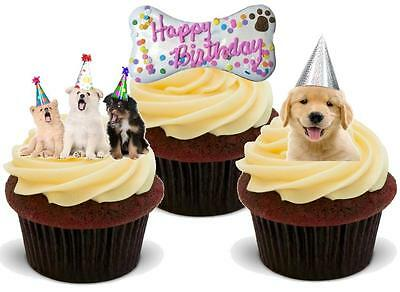 NOVELTY HAPPY BIRTHDAY FEMALE DOG Mix STAND UP / Icing Edible Cake Toppers Dogs