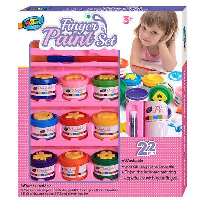 9 Finger Paint Set 9 Stamps 9 Colors Washable Non-toxic Safe Great for Kids Art