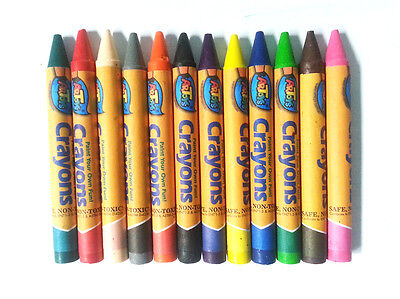 Premium Jumbo Crayon 12 Bright Color Ultra Smooth Non-toxic PVC Pack Art Drawing