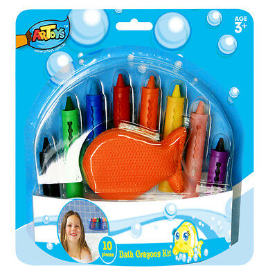 Bath Crayons Kit 8 Crayons 1 Sponge 1 Box Wash Off Lots of Fun on Kids Bath Time