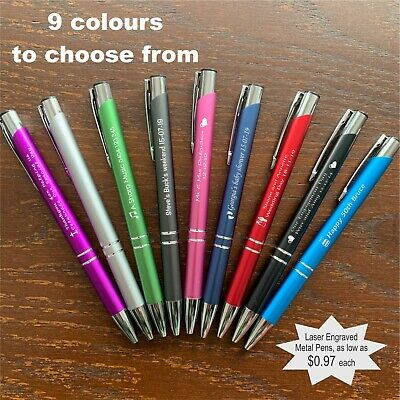Personalised Custom Metal Pen Engraved Wedding Favour Promotional Business Bulk