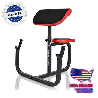 Marbo Sport Seated Preacher Curl Bench Isolated Barbell Dumbbell Bicep
