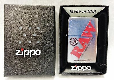 New in Box RAW Rolling Papers ZIPPO Brushed Chrome Cigarette Lighter Free Ship
