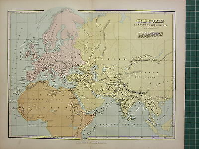 1869 Antique Map The World Known By The Ancients Libya Britannia Europa Scythia