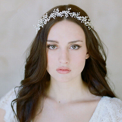 Vintage Wedding Bridal Crystal Pearl Hair Accessories Headband Band Tiara Silver
