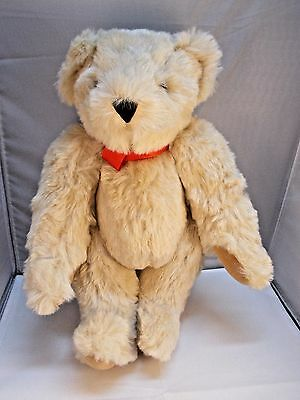 """Vermont Teddy Bear Jointed Plush 15"""" Cream Colored"""