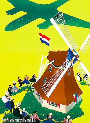Holland Dutch Windmill Vintage Netherlands Travel Advertisement Art Poster