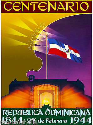 Dominican Republic Centenial Caribbean Island Sea Travel Poster Advertisement
