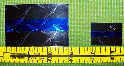 Pair of Thin Blue Line Diamond Plate Decals --2x3 & 1x1.5 -Nice!   Ships FREE!