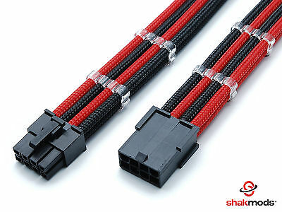 8 Pin PCI-E GPU Black Red Sleeved Extension Cable 30cm Shakmods 2 Cable Combs