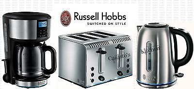 Russell Hobbs Buckingham Coffee Maker Kettle and Toaster Set Stainless Steel New