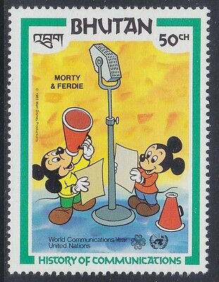 Bhutan 1983 - History Of Communication - Walt Disney - Ch. 50 - Mnh