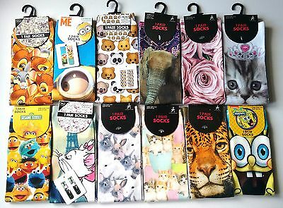 DISNEY PHOTO SOCKS LADIES GIRLS Minions Bambi Aristocats PRIMARK UK 4 - 8