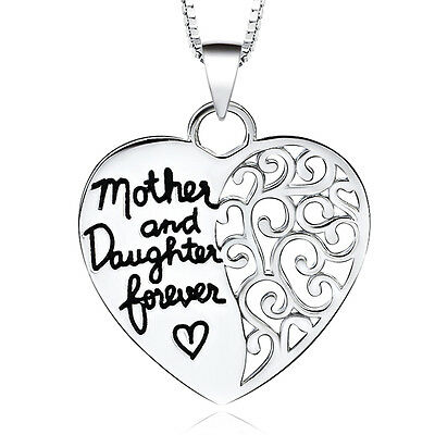 *uk* 925 Silver Plt Mother And Daughter Forever Engraved Love Heart Necklace Mum