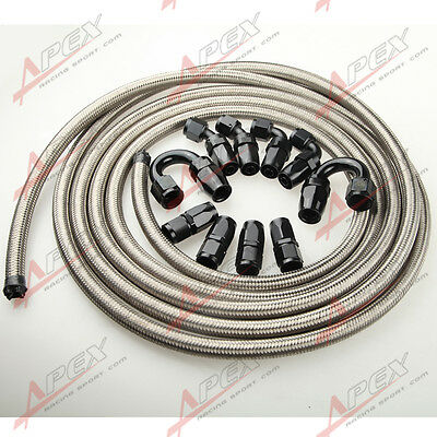 An10 10An Stainless Steel Braided Oil/fuel Hose +  Black Fitting Hose End Kit