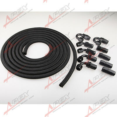AN8 -8AN NYLON BRAIDED OIL/FUEL Hose + Fitting Hose End Adaptor KIT