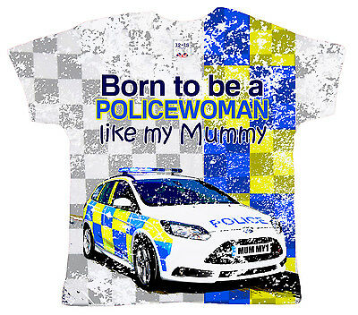 "DF Baby T-Shirt All Over Print ""Born to be a Policewoman like my Mummy"" Police"