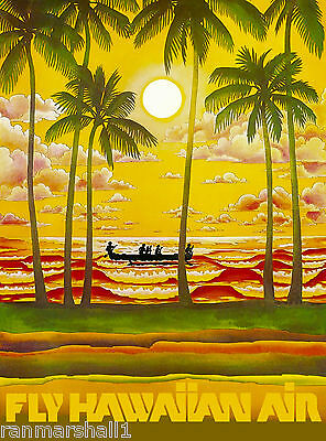 Hawaii Hawaiian Beach Sunset Airplane United States Travel Advertisement Poster