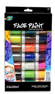 Face Paint Set 24 x 20ml Pots Water Based Washable Costume Party Event Activity