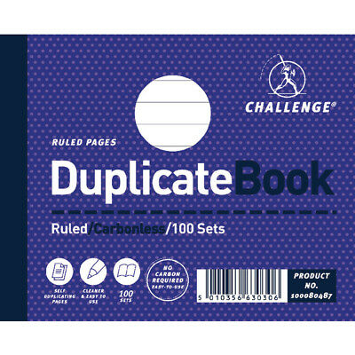 Challenge Duplicate Book Ruled Carbonless 100 Sets 105 x 130mm (Pack of 5) 10008