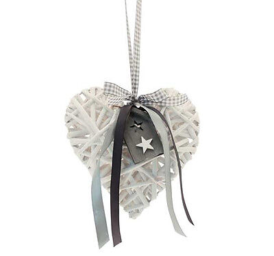 14cm White Wicker Heart With Wooden house Home And Gingham And Satin Ribbon