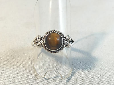 Vintage Style Sterling Silver Ring with Tiger Eye Stone