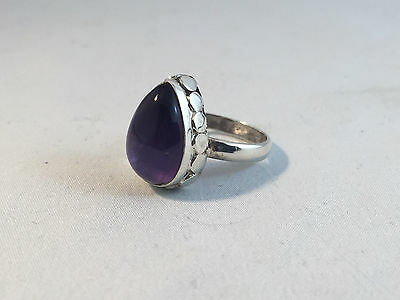 Vintage Style Sterling Silver Ring with Pear Shaped Amethyst Stone