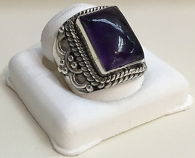 Vintage Style Sterling Silver Ring with Large Amethyst Stone