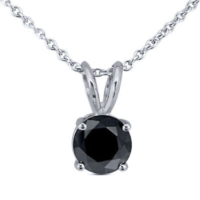 """0.20ctw Round Black Diamond in 925 Sterling Silver Pendant with 18"""" Chain"""