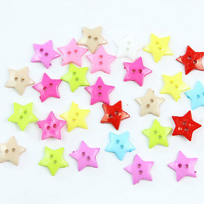 100Pcs Kids Mixed Color Plastic Cute  Star Buttons DIY Sewing Scrapbooking Craft