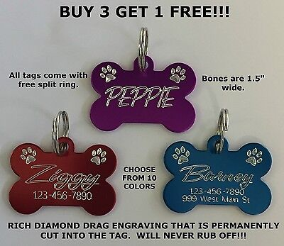 Custom Engraved Bone Paw Print Pet Tag Dog Cat ID Name Animal - 10 COLORS