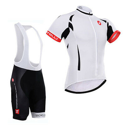Men Riding Wear Cycling Jersey Bib Shorts With Padding Kits Shirt Straps Sets
