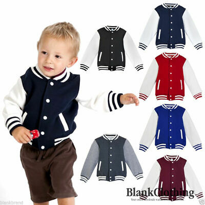 Kids Plain Varsity Jacket | Children Fashion Style Baseball Letterman Basketball