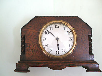 "French OakCase Platform Winding Movement Timepiece Mantle Clock 8"" H 6"" W 3.5""D"